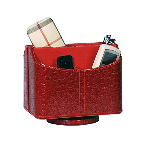 (UnionBasic PU Leather Crocodile Pattern 360 Degrees Rotatable Remote Control/Controller Organizer, Spinning TV Guide/Mail/Media Desktop Organizer Caddy Holder (Crocodile Red))