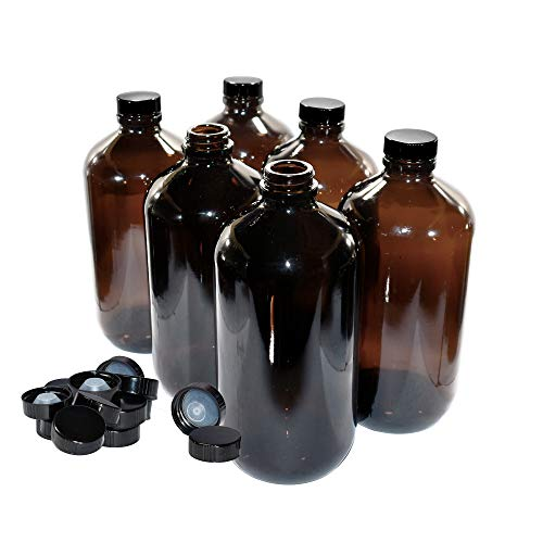 (6 Pack) 32 oz. Amber Boston Round with Black Poly Cone ()