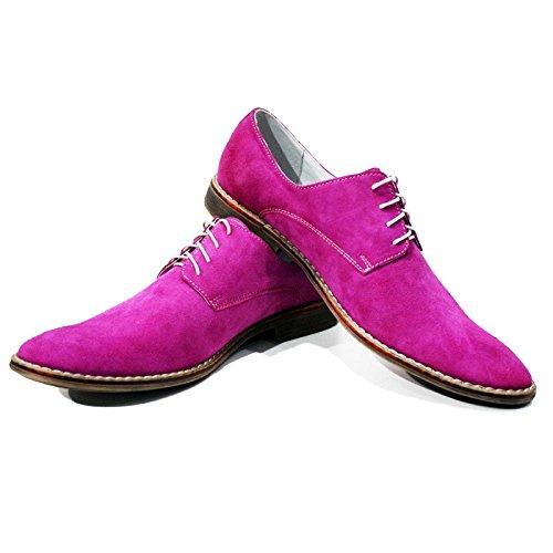 PeppeShoes Modello Corso - Handgemachtes Italienisch Leder Herren Rosa Oxfords Abendschuhe Schnürhalbschuhe - Rindsleder Wildleder - Schnüren