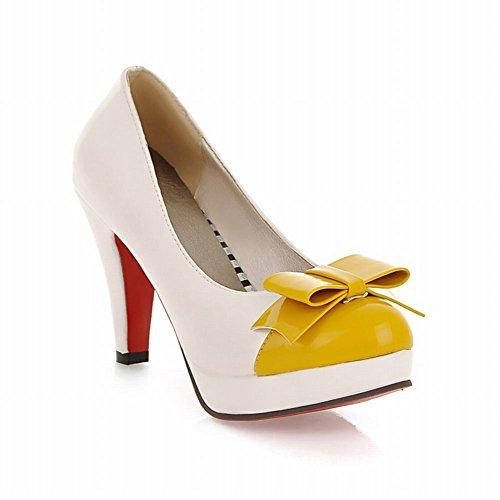 Latasa Womens Cute Bow Two-toned High Heel Platform Dress Pumps Shoes White FMUq2EDSH