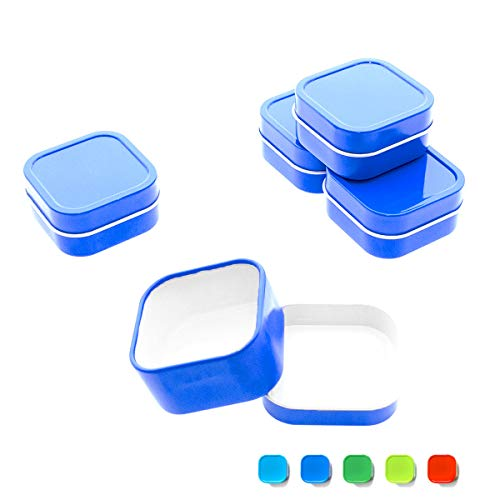 Mimi Pack 4 oz Tins 24 Pack of Square Slip Top Tin Containers with Lids For Cosmetics, Party Favors and Gifts (Blue)