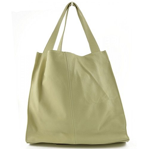 Borsa Shopper In Vera Pelle Con Ciondolo In Pelle Colore Beige - Pelletteria Toscana Made In Italy - Borsa Donna
