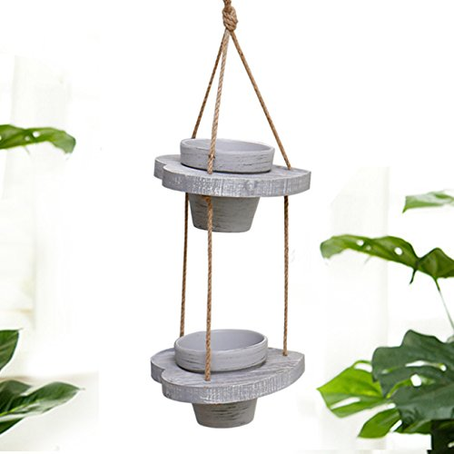 Two Ceramic Decks - Macrame Plant Hanger Rack Double Deck With Two Ceramic Pot Hearted Shape Wooden Plate Wall Decoration Home Study Office Garden Boho Vintage Style