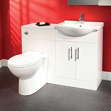55 Bathroom WC Combination Unit   Soft Closing Modern White Design  (Reversible*)