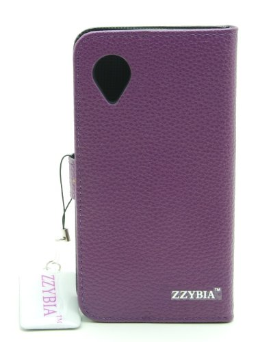 ZZYBIA® Nexus5 LCB Purple Leatherette Stand Case Card Holder Wallet with a Off White Bear Fringed Dust Plug Charm for Google Nexus 5