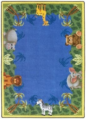 Joy Carpets Kid Essentials Infants & Toddlers Jungle Friends Rug, Multicolored, 5'4'' x 7'8''