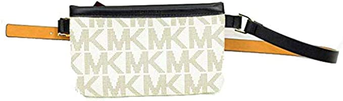 Michael Kors Navy Blue and White Leather Belt Signature Fanny Pack Zip up Small: Amazon.es: Ropa y accesorios