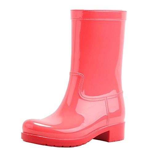 Rutschfest Wasserdicht SYYAN Watermelon Damen Achse Pfützen Mehrfarbig Red Mittlere Gummistiefel 1ffqTtw