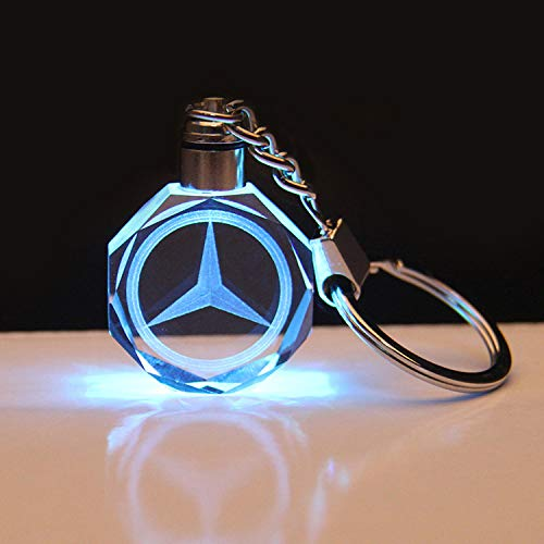 monochef Auto Sport Stylish Creative LED Crystal Keychain Color Changing Light Keyring Decor Pendant with Car Logo for Mercedes-Benz Accessory