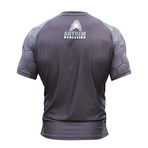 7de4e0c4ce7 10+ Styles - Anthem Athletics HELO-X Short Sleeve Rash Guard Compression  Shirt - BJJ, MMA - Black Hex With Grey - Large
