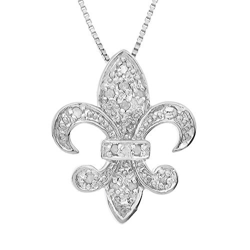 - JewelExclusive Sterling Silver 1/10 cttw Natural Round-Cut Diamond (J-K Color, I2-I3 Clarity) Fleur De Lis Pendant 18