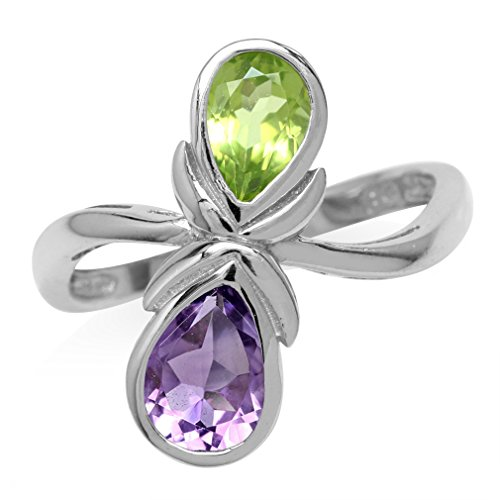 Natural Pear Shape Amethyst & Peridot White Gold Plated 925 Sterling Silver Casual Ring Size 8