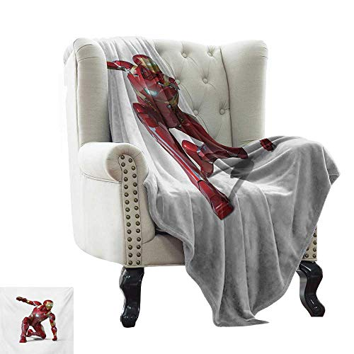 LsWOW Throw Blanket for Couch Superhero,Robot Transformer Hero with Superpower in Costume Cyber Man Fun Character Print,White Maroon Warm & Hypoallergenic Washable Couch/Bed Throws 30
