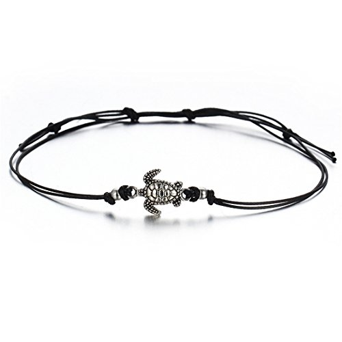 VWH Multiple Layers Anklets for Women Vintage Tortoise Pendant Rope Anklet Animal Foot Ankle Sexy Beach Jewelry (black)