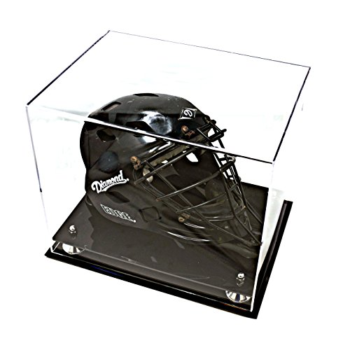 Deluxe Clear Acrylic Catchers Helmet Display Case with Silver Risers (A002-SR) ()