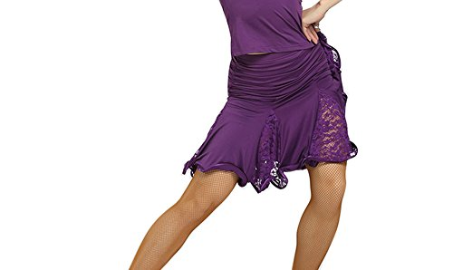New Style Lace Latin Dance Dress Latin Dance Costume Square Dance Skirt Purple n4axdaX