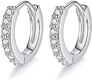 Small Hoop Earrings for Women Sterling Silver Cubic Zirconia Cartilage Earring Piercing Earrings Ear Cuff Hugg
