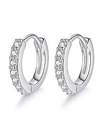 Small Hoop Earrings for Women Sterling Silver Cubic Zirconia Cartilage Earring Piercing Earrings Ear Cuff Huggie Tiny Hoops Earrings for Women Men