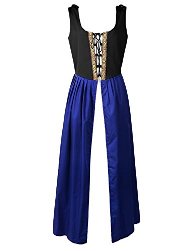 Irish Medieval Clothing - Renaissance Medieval Pirate Peasant Costume Two-Toned Irish Over Dress Fitted Bodice (XL, Black/Blue)