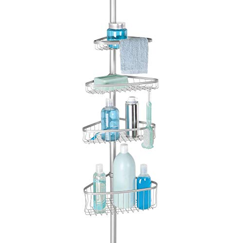 InterDesign York Metal Wire Tension Rod Corner Shower Caddy, Adjustable 5'-9' Pole and Baskets for Shampoo, Conditioner, Soap with Hooks for Razors, Towels, Silver