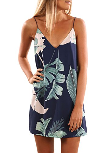 (Sidefeel Women V Neck Halter Printed Casual Strap Dress Small Blue)