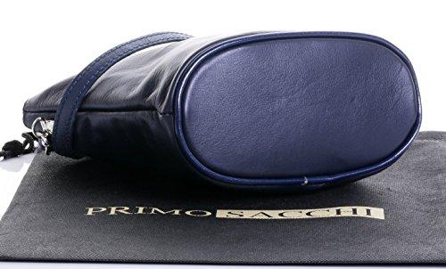 or Bag Body Cross Handbag Sacchi Strap Leather Italian Shoulder Adjustable Navy Primo Hand Blue Made 1wRCqz