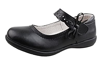 QHamThim Girls Leather Oxford Black School Uniform Outdoor Dress Mary Jane Shoe(Toddler/Little Kid/Big Kid)