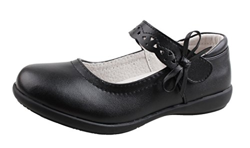 School Girl Shoes (QHamThim Girls Leather Oxford Black School Uniform Outdoor Dress Mary Jane Shoe(Toddler/Little Kid/Big Kid) US Size 12.5 Black)