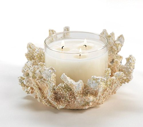 White Faux Coral 3 Wick Candle Holder