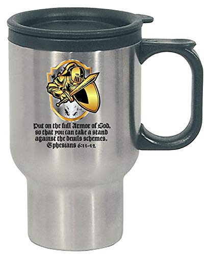 Bible - Put On The Full Armor Of God - Religion Worship Scripture - Stainless Steel Travel Mug