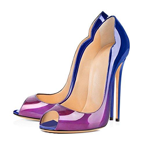 CM Pumps Wedding azul Tacones Peep Zapatos ELASHE Clásicas de Boda Altos tacón 12 y púrpura Toe AnIq17w