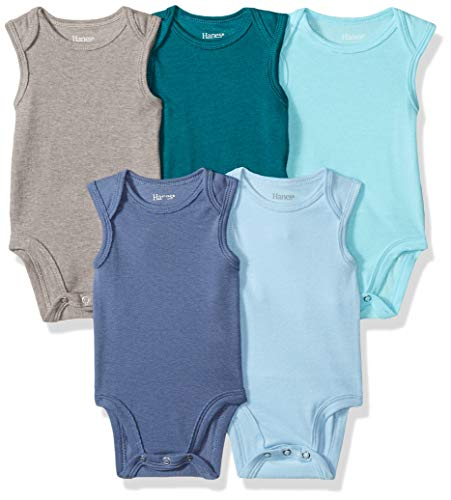 Hanes Ultimate Baby Flexy 5 Pack Sleeveless Bodysuits (Tanks), Blues, 6-12 Months