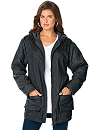 Women's Plus Size Hooded Jacket with Fleece Lining Rain Water Repellent
