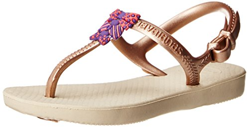 Havaianas Kids Freedom Thong Sandal  ,Sand Grey/Rose Gold ,2