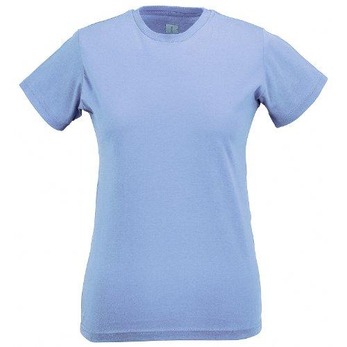Azzurro Cielo Maglietta Russell Cotone 100 Manica Corta Donna R4Y70n4