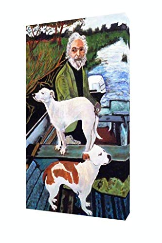 Poster Foundry Man in Boat with Dogs Movie Painting Stretched Canvas Wall Art 16x24 Inch -