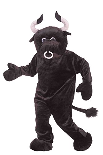 Deluxe Plush Bull Mascot Costumes (Forum Deluxe Plush Bull Costume, Black, One Size)