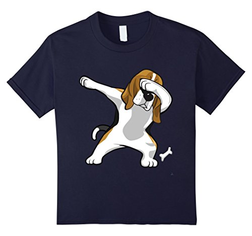 Kids Beagle Hound Dabbing Dab Beagle Lover Puppy Fun Apparel Tee 12 Navy