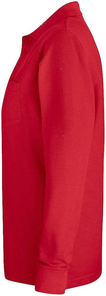6 colores S-4XL Polo de manga larga con bolsillo de algod/ón suave preencogido