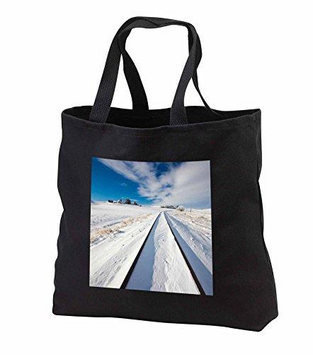 Danita Delimont - Washington - Washington State, Pullman, Railroad tracks running through the snow - Tote Bags - Black Tote Bag JUMBO 20w x 15h x 5d - Snow Running Through