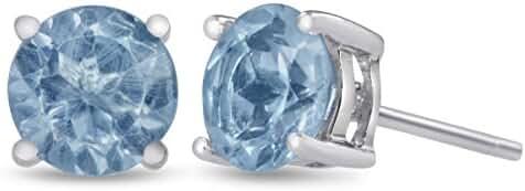 Sterling Silver Blue Topaz Stud Earrings 6mm 1 1/2 Carat Total Weight