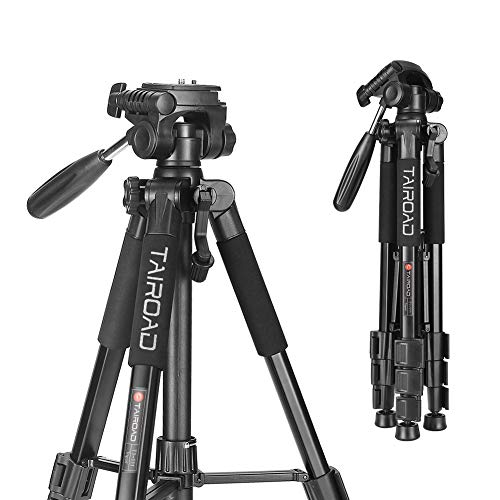 """ZOMEi 55"""" Travel Camera Tripod Lightweight Aluminum with 3-Way Pan Head for DSLR SLR Canon Nikon Sony Olympus DV with Carry Case (Black)"""
