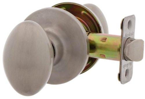 MaxGrade 100BAK15 Baker Egg Style Passage Hall/Closet Door Knob Lockset, Satin Nickel