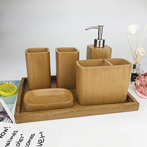 FXin バスルームアクセサリー、樹脂材料のバスルームセット6セット5セットトレイバスルーム用品バスルーム歯ブラシカップ歯ブラシホルダー、4色、2セット シャワー室 (Color : Brown, Size : Six-piece)
