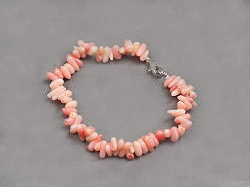 TreasureBay Parure de bijoux pour femme avec collier et bracelet en corail rose naturel