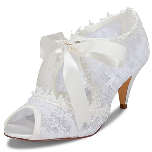 JIAJIA Women's Bridal Shoes 5949419 Peep Toe Cone Heel Lace Satin Pumps Ribbon Tie Wedding Shoes Color Ivory,Size 5.5 B(M) US/36 EU ()