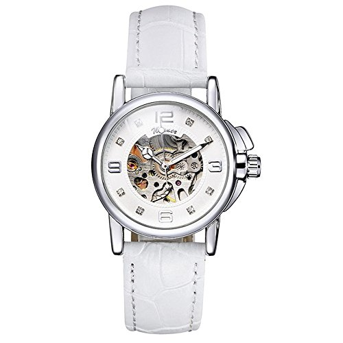 Women Automatic Mechanical Wrist Watch with PU Band (White) - 3