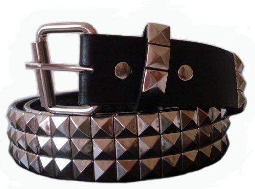 Silver Belt Studded - BeltsandStuds Goth Punk Silver Stud Studded Snap on Belt XL 40 Silver