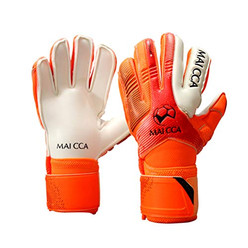 Haploon Youth Goalie Goalkeeper Gloves Kids Professional Goalkeeper Gloves,Soccer Football Training Goalkeeper Secure Gloves with Finger Protector-Carry Tote Included (Orange, - Goalkeeper Training Ball Soccer