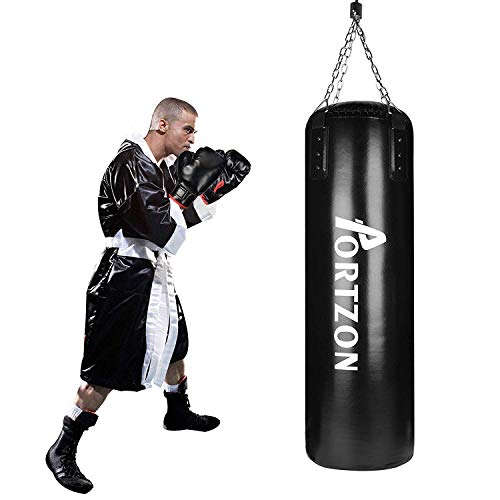 Portzon Punching Bag Set Boxing Training MMA Heavy Bags with Punch Gloves Chain Ceiling Hooker 5 Piece Indoor Sports Sets